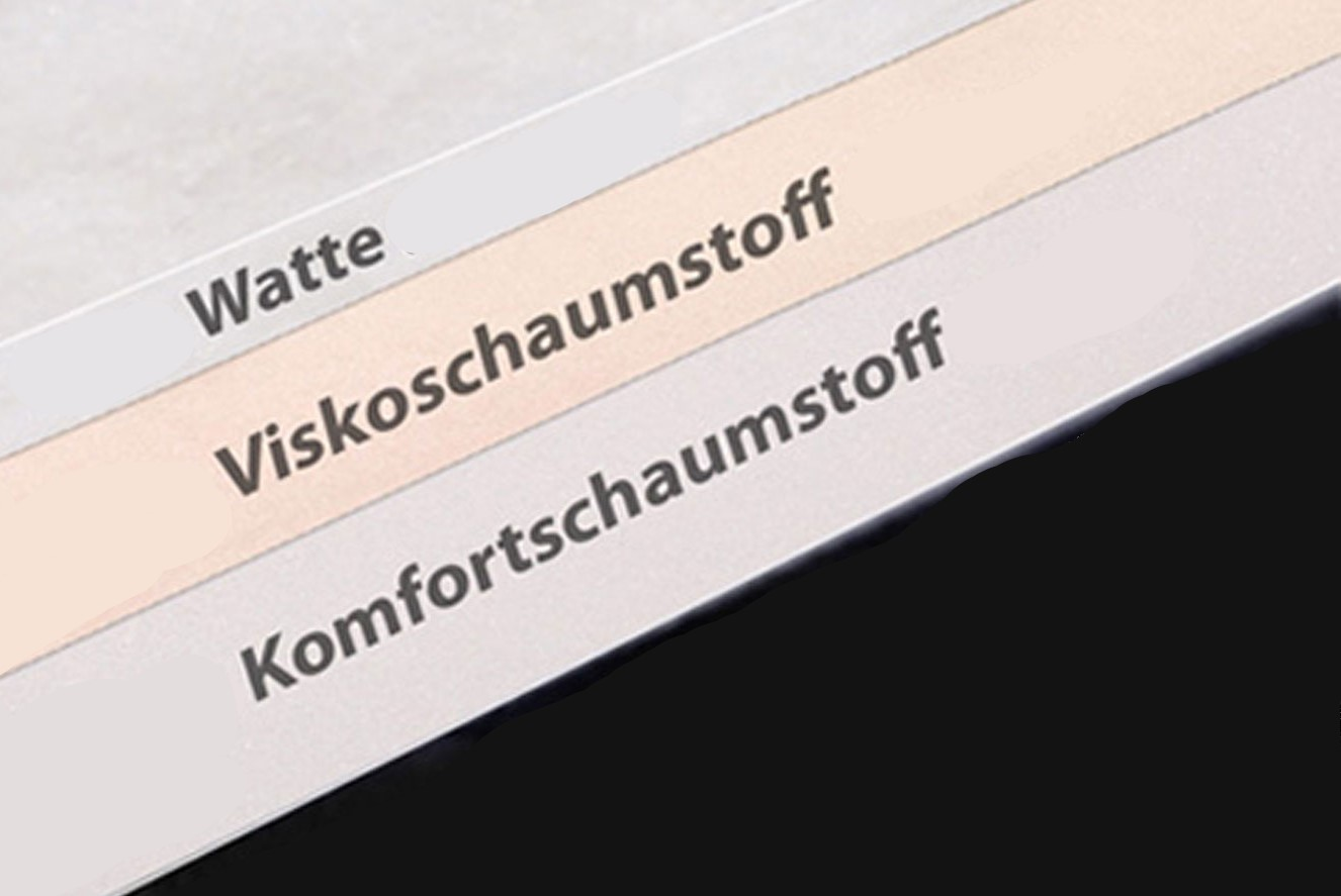Extra 1cm Viskoseelastischer Schaum + 1cm Watte